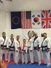 Leon and I after our Black Belt First Dan grading on the 28th Nov 2014 pictured With from left Mr Stuart Day, Master Paul Salter, Myself, Leon, Mr Ian Elliott, Master Hedges and Mr Simon Jackson