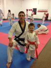 Master Paul Salter with one of the Soo Bahk Do Academy's young rising stars. Tiger Tot, Kiever who absolutely loves his Karate.